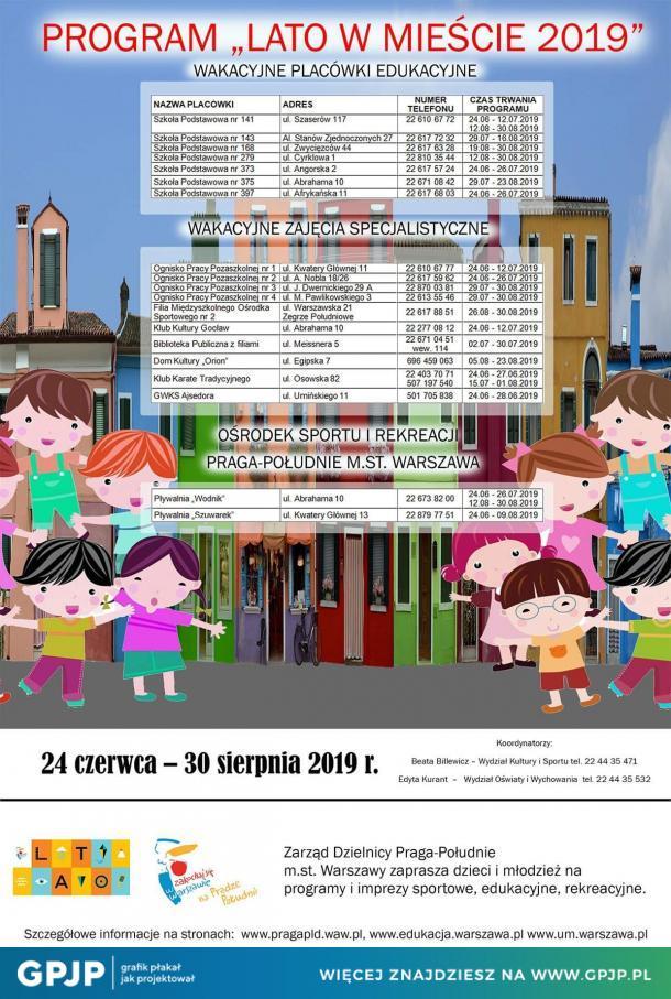 """Warszawski program """"Lato w mieście"""" 2019."""